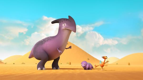 Der große Dinotap-Sitter sagt Gwen, sie solle sich von ihren Dinotapslingen fern halten. | Rechte: KiKA/Kindle Entertainment Ltd., Guru Studios Ltd. & Laughing Gravy Media Ltd. 2014