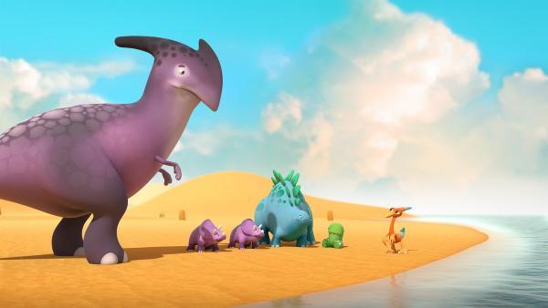 Bob, Toni und Gwen spielen mit den Dinotapslingen, doch die Kleinen sollen leise und ruhig sein. | Rechte: KiKA/Kindle Entertainment Ltd., Guru Studios Ltd. & Laughing Gravy Media Ltd. 2014