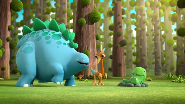 Toni baut sich ein kleines Nest aus Steinen. Bob und Gwen wollen in der Zwischenzeit herausfinden, was am Ende der Welt liegt.  | Rechte: KiKA/Kindle Entertainment Ltd., Guru Studios Ltd. & Laughing Gravy Media Ltd. 2014