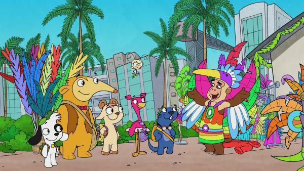 Claude begrüßt Team Doki zum Karnevalsfest in der Karibik.   Rechte: KiKA/Portfolio Entertainment