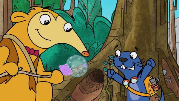 Mit einem Kaugummitrick gelingt es Rico, Lancelot zu retten. | Rechte: KiKA/Portfolio Entertainment
