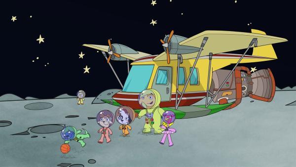 Das Team ist Doki auf den Mond gefolgt. | Rechte: KiKA/Portfolio Entertainment