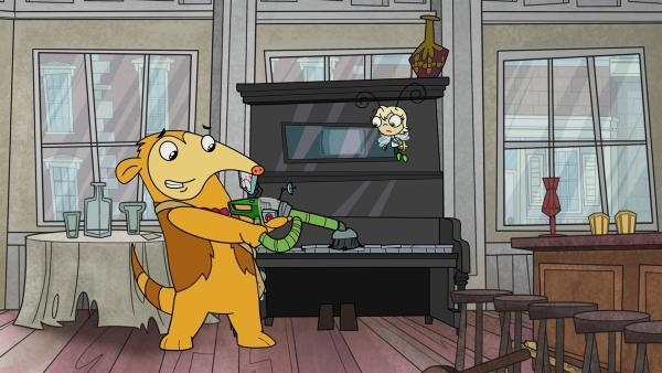 Otto will mit seiner Maschine Geister im alleine spielenden Klavier erspüren. | Rechte: KiKA/Portfolio Entertainment