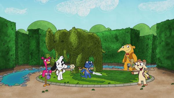 In der Mitte des Irrgartens treffen sich die Freunde wieder. | Rechte: KiKA/Portfolio Entertainment