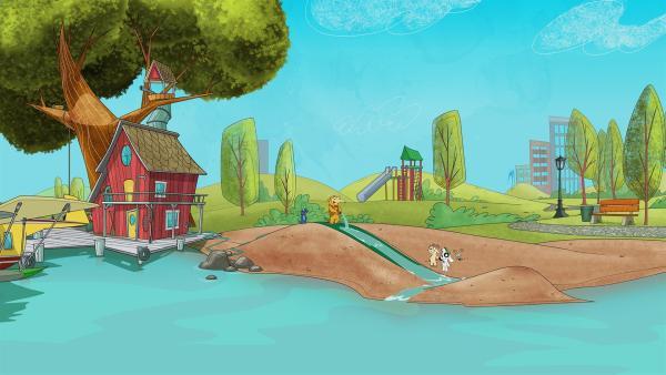 Team Doki baut sich eine Wasserrutsche. | Rechte: KiKA/Portfolio Entertainment