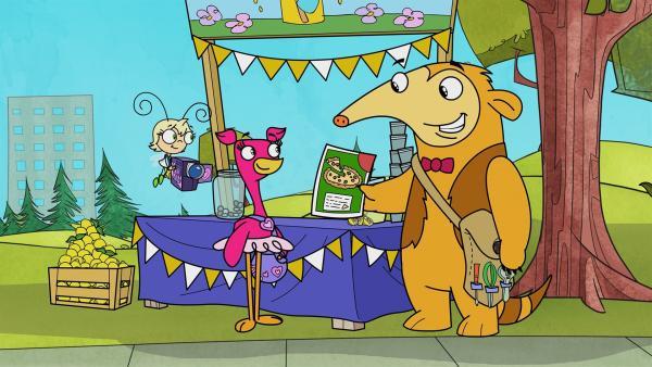 Daheim kommt Otto auf die Idee, Werbezettel für die Limonade zu machen. | Rechte: KiKA/Portfolio Entertainment