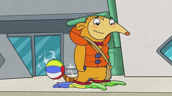 Otto ist enttäuscht von seinen neuen Über-Wasser-geh-Schuhen. | Rechte: KiKA/Portfolio Entertainment