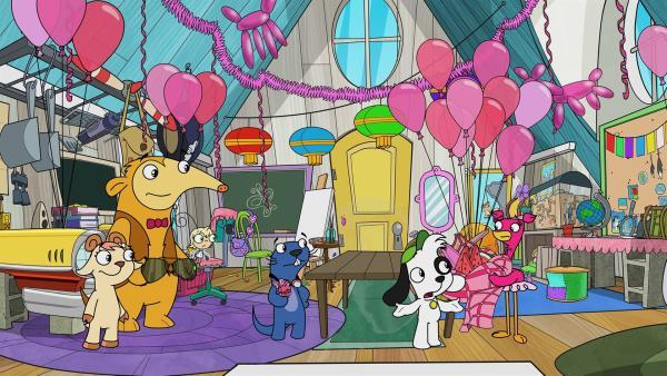 Team Doki zeigt sich nicht sonderlich beeindruckt von Anabellas Party in pink. | Rechte: KiKA/Portfolio Entertainment
