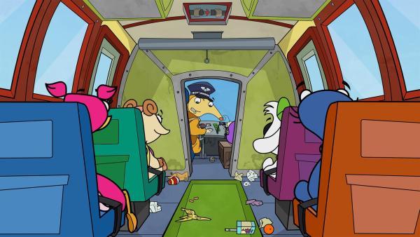 Empört sieht Otto, wie sein Flieger verdreckt wurde. | Rechte: KiKA/Portfolio Entertainment