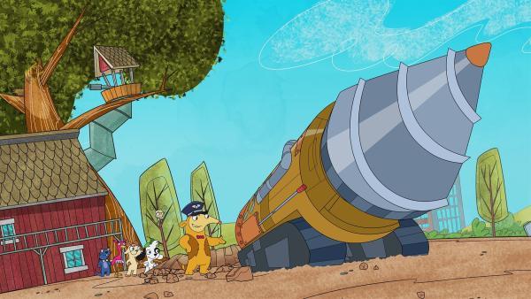 Stolz präsentiert Otto seinen Buddelmaschine vor, mit der man sich durch die Erde bohren kann. | Rechte: KiKA/Portfolio Entertainment