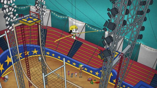 Beim Üben des Hochseilaktes wird Doki etwas schwindelig. | Rechte: KiKA/Portfolio Entertainment