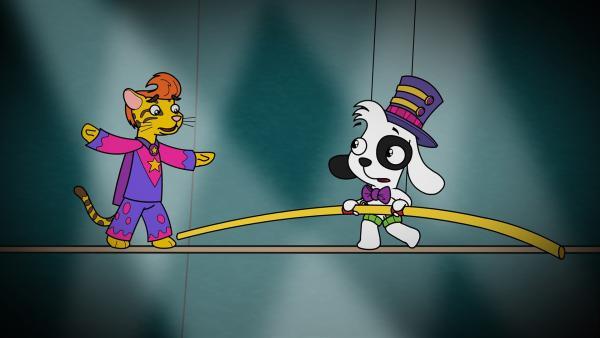 Doki bewundert den Seilkünstler Oliver für seinen Balanceakt. | Rechte: KiKA/Portfolio Entertainment
