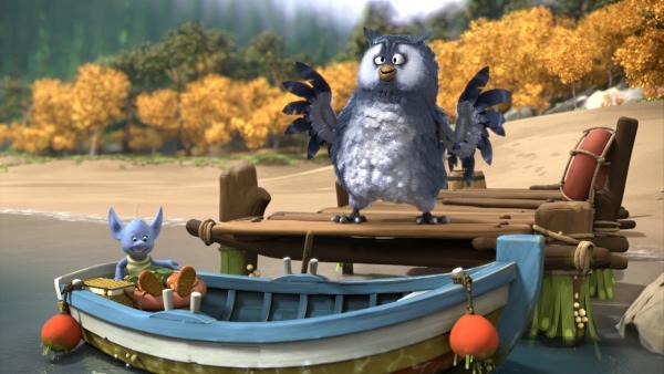 Die Elfe Grizel will unbedingt mit Mungo vor Digby und seinen Freunden auf der Insel sein und die Überraschung sehen. Dafür nimmt sie das einzige Boot. | Rechte: ZDF/Fizzy Productions ltd.