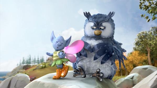 Grizel hat die Flügel von Fizzy gefunden. Nun will sie fliegen – so wie Mungo, die Eule. | Rechte: ZDF/Fizzy Productions ltd.