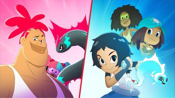 Im Duell gegeneinander: Team Star Fish mit DJ, Debbie und Genie Shiny (links) und Team Tiki mit Corto, Enki, Mouse und Oro (rechts) | Rechte: WDR/2021 Cyber Group Studios
