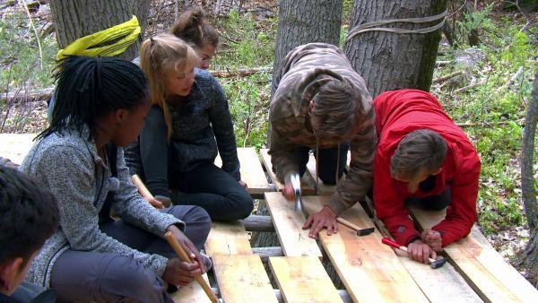 Dieser Rahmen ist euer Grundgerüst, auf das ihr die Bretter nageln könnt. Hier gehen die Nägel nicht direkt in lebendes Holz. Lasst nicht zu große Lücken entstehen, dann könnt ihr am Schluss bequem im Baumhaus sitzen. | Rechte: KiKA/ HR