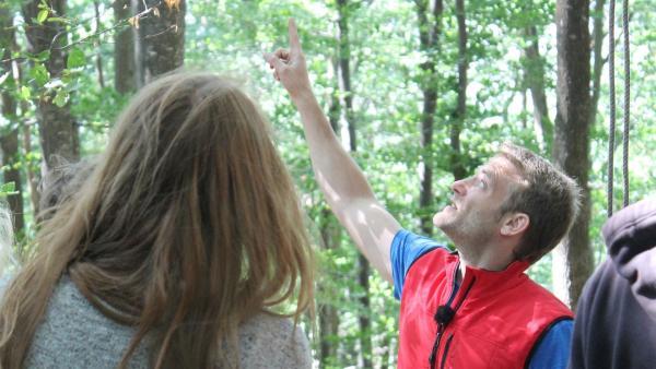 Coach Tobi schickt die Sechs heute über ein Kletternetz in den Bäumen. Das wird anstrengend. | Rechte: hr/E+U TV Film- und Fernsehproduktion