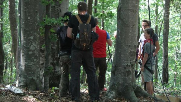 Heute gibt es wieder eine spannende Herausforderung im Wald. | Rechte: hr/E+U TV Film- und Fernsehproduktion