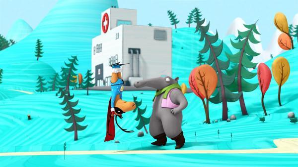 Super-Edgar steht Kopf und bittet Frank um Hilfe.   Rechte: NDR/Autour de Minuit Productions/France Télévisions/Borderline Films