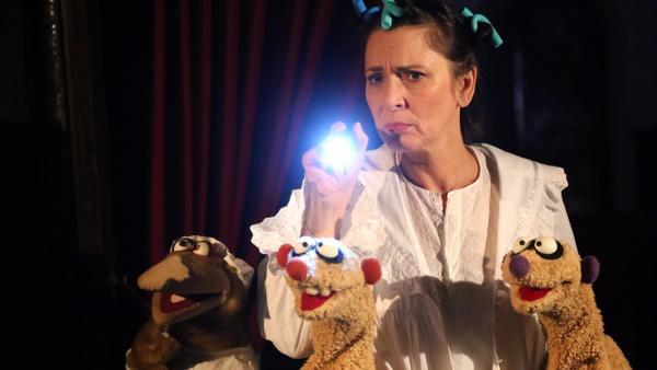 Nachts gehen Jan & Henry mit der Gräfin (Ute Willing) auf Gespensterjagd. | Rechte: bigSmile/NDR