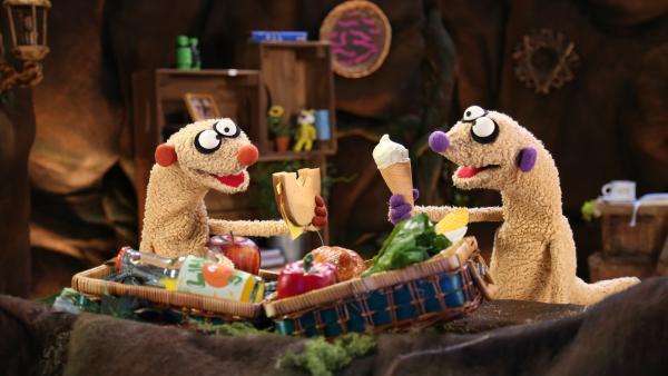 Jan & Henry testen ihre Sachen auf Picknicktauglichkeit.   Rechte: NDR/bigSmile