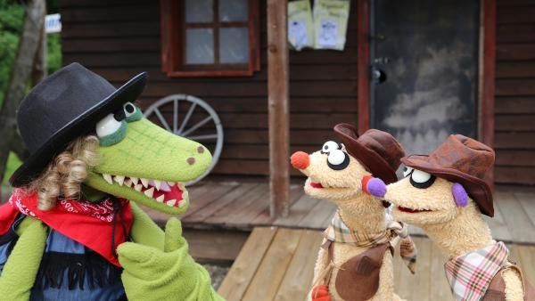 Auch im Wilden Westen sind Jan & Henry vor Krokodella nicht sicher. | Rechte: NDR/bigSmile