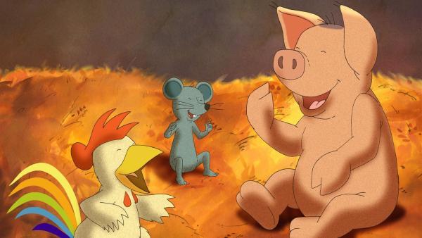 Die drei Freunde, Waldemar das Schwein, Franz der Hahn und Johnny Mauser die Maus amüsieren sich im Stroh. | Rechte: WDR/MotionWorks GmbH