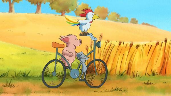 Die besten Ideen kommen den drei Freunden auf dem Fahrrad. Um im Fall des gestohlenen Eies weiterzukommen, machen sie erst einmal eine Spritztour. | Rechte: WDR/MotionWorks GmbH