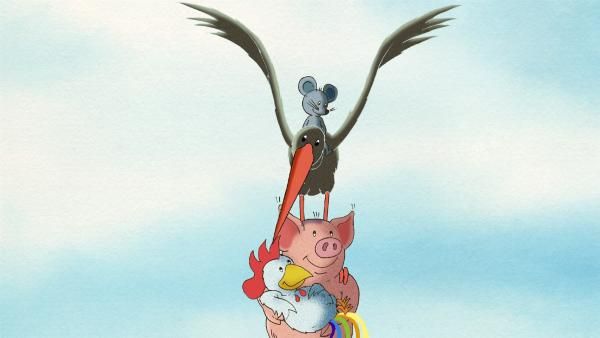 Johnny und der dicke Waldemar schaffen es mit Hilfe des schwarzen Storchs ihren Freund Franz zu retten. | Rechte: WDR/MotionWorks GmbH