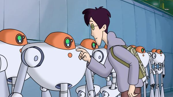 Karl staunt nicht schlecht, was der Roboter XZ 1 der Firma Robotech alles kann. | Rechte: ZDF/Jürgen Polaszek