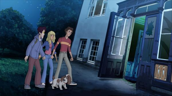 Karl, Gaby, Tim und Hund Oscar  verfolgen eine heiße Spur!     | Rechte: ZDF/Neue Trickompany