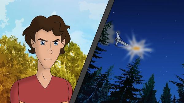 Tim hat nachts beobachtet, wie ein Flugzeug über dem Wald explodiert ist! | Rechte: ZDF/Neue Trickompany