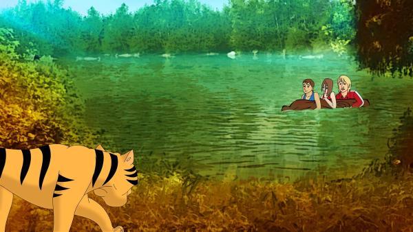 Der Tiger hat die Mädchen im See entdeckt! Das große Bangen - können Tiger schwimmen? | Rechte: ZDF/Neue Trickompany