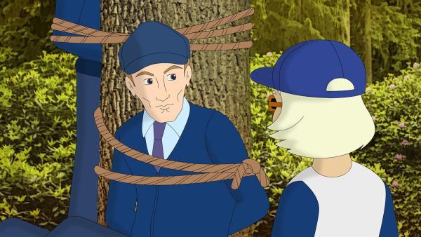 Für den Überfall auf den Geldtransporter haben sich die Gangster eine entlegene Stelle im Wald ausgesucht. | Rechte: ZDF/Neue Trickompany
