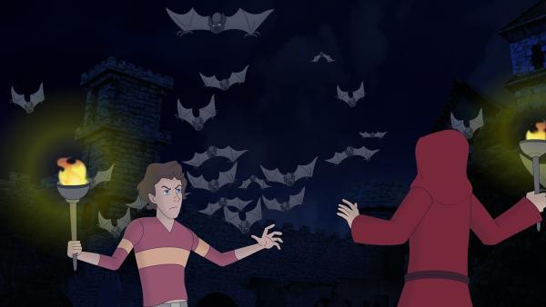 Tim wagt sich in das gruselige Vampirschloss und trifft dort auf den unheimlichen roten Mönch! Hat der etwas mit dem Verschwinden der beiden Mädchen zu tun? | Rechte: ZDF/Neue Trickompany