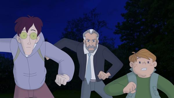 Karl und Klößchen nehmen Reißaus vor dem aufgebrachten Mr. Hutton! Er versteht keinen Spaß, wenn man ihm die krummen Geschäfte vermasselt. | Rechte: ZDF/Neue Trickompany