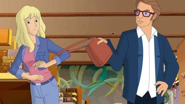 Der Plan von TKKG geht auf. Der zwielichtige Kaufhausdetektiv Zinkdübel hat angebissen und Gaby als Ladendiebin gestellt. Was wird er mit ihr anstellen? | Rechte: ZDF/Neue Trickompany