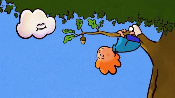 Beim Spielen entdeckt Oskar eine freundliche Wolke. | Rechte: SWR/NORMAAL