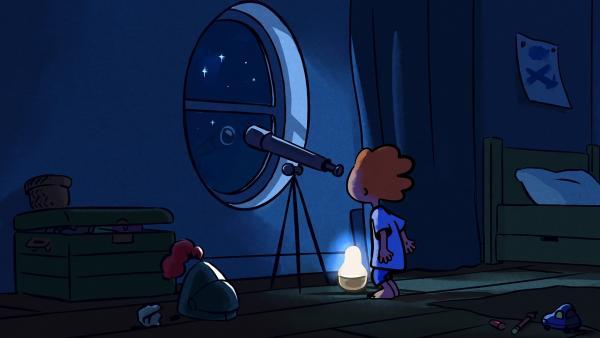 In der Nacht vor dem Picknick kontrolliert Oskar das Wetter. | Rechte: SWR/NORMAAL
