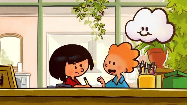 Ella und Oskar schreiben für Huu eine Karte an die Wolken. | Rechte: SWR/NORMAAL