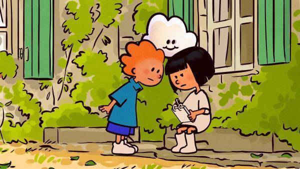 Oskar und Huu staunen nicht schlecht. Ella ist im Farbenstreik und trägt und malt nur noch Weiß.   Rechte: SWR/NORMAAL