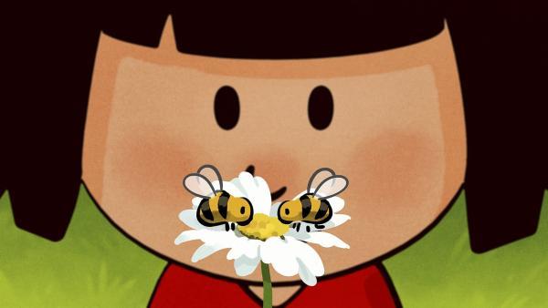 Ella fragt die Bienen, ob sie ihre Schildkröte gesehen haben. | Rechte: SWR/NORMAAL