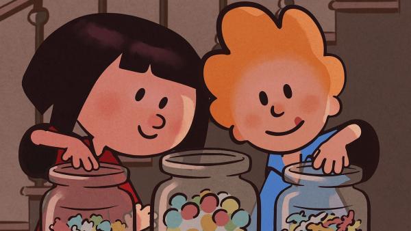 Ella und Oskar naschen Süßigkeiten, um sich wachzuhalten. | Rechte: SWR/NORMAAL