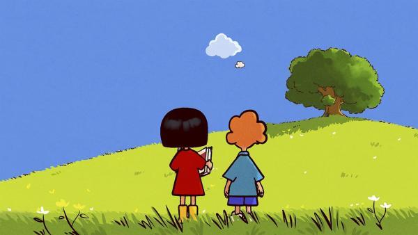 Ella und Oskar sehen ihrem Freund Huu beim Speilen zu. | Rechte: SWR/NORMAAL