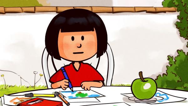 Ella kann entspannt an ihrem Bild malen. Denn sie hat gute Neuigkeiten für Oskar. | Rechte: SWR/NORMAAL