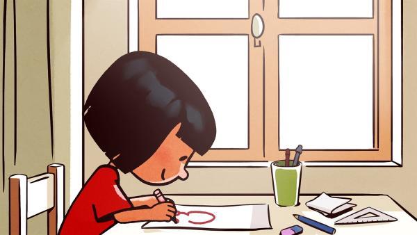 Ella malt eine Karikatur von Oskar. | Rechte: SWR/NORMAAL