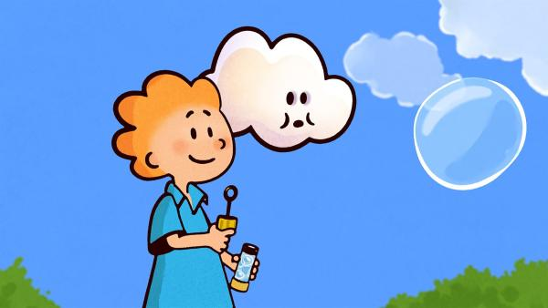 Könnte Oskars Seifenblase eine Partnerin für Huu sein? Huu ist skeptisch. | Rechte: SWR/NORMAAL