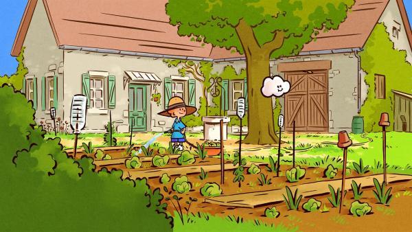 Oskar langweilt sich bei der Gartenarbeit. | Rechte: SWR/NORMAAL