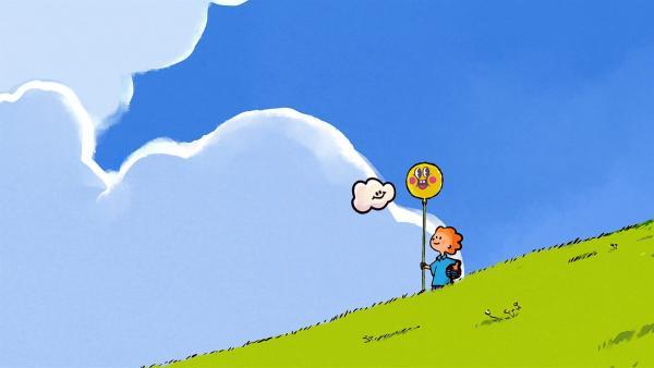 Oskar und Huu sind begeistert von ihrem neuen Ballon. | Rechte: SWR/NORMAAL