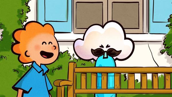 Oskar und Huu haben viel Spaß mit ihrem blauen Luftballon. | Rechte: SWR/NORMAAL